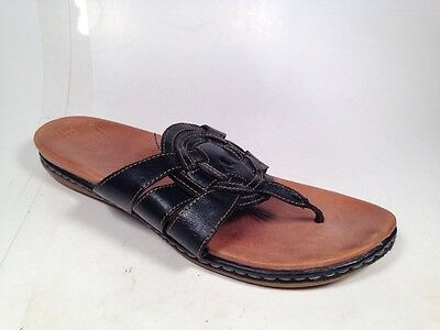 Born Crown Thong Sandals Black Leather Women's Sz 10 M