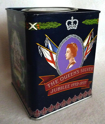 """Jacksons of Piccadilly Tea Caddy """"The Queen's Silver Jubilee 1952-1977"""" (empty)"""