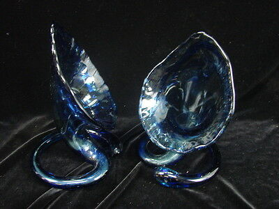 Set of 2 Cool Blue Blown Glass Home Decor