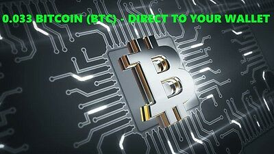 0.033 Bitcoin (BTC) - Delivered Direct To Your Wallet - By Crypto Coin Shop