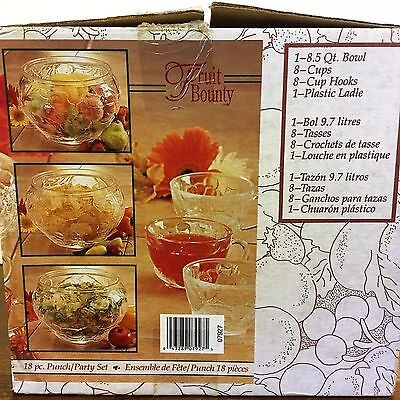 INDIANA GLASS Fruit Bounty PUNCH BOWL SET Orig BOX w/ 8 CUPS Clear Crystal Glass