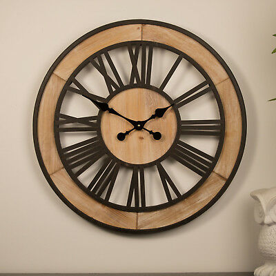 Large Wall Clock 60cm WOODEN WHEEL Metal Timber French Provincial Designer