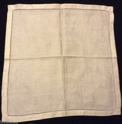 5 Double Damask IRISH LINEN NAPKINS Chrysanthymums 16X16in Open work Hems