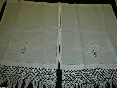 2 Exquisite LINEN HAND FINGER TIP TOWELS 24.5X13.5 OPENWORK Embroidery  KNOTTING