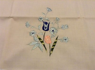 """NWOT  One Pretty PILLOW CASE Flower Embroidery 32 1/4 x 20"""""""