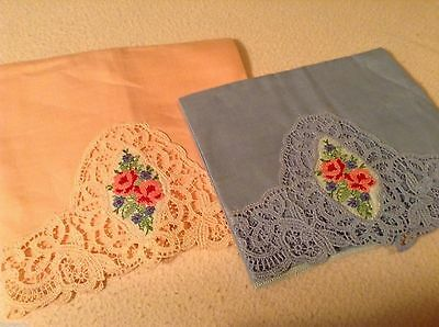 "NWT 2 Hand Embroidered LINEN FINGER TIP GUEST TOWELS Lacy Edge 19x12"" ROSES"