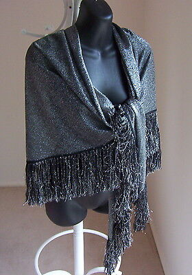 Vintage SHAWL WRAP Black with Silver Lurex Thread LUXURIOUS Travelling Travel