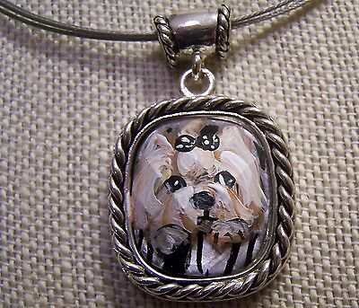 hand painted Yorkie on silver tone faceted glass pendant necklace