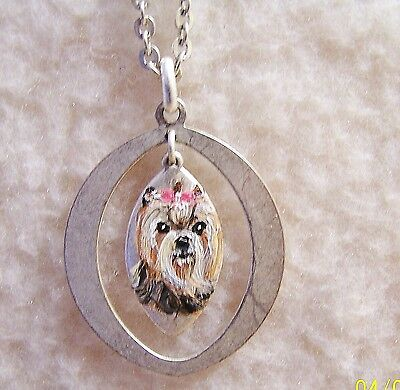 Yorkie hand painted silvertone adjustable  pendant necklace