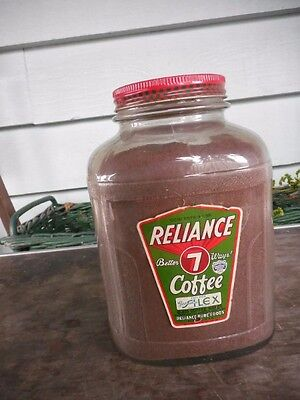 Large Vintage Reliance Coffee Jar Seattle Filled with Coffee
