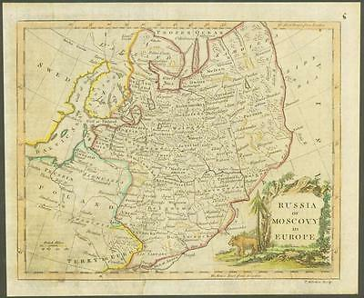 """1770 Original Antique Map """"RUSSIA MOSCOVY IN EUROPE"""" by T KITCHIN Hand coloured"""