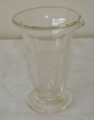 Vintage Glass Beaker Flask Apothecary 16 DRMS Drams 2 Oz Lab Laboratory chemist