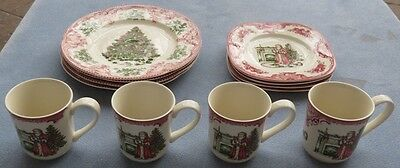 12 Pc Set for 4 Johnson Brothers Old Britain Castles Christmas Dinnerware