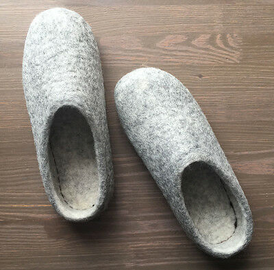 Felted Wool Slippers Size (Women's) 10 Comfort Gray Winter Shoes, Clogs