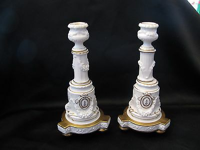 "Antique Rare Rpm Kpm German Pair Candlesticks 12.5""  Gold Detailing 3 Ball Feet"