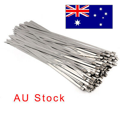 200mm X 4.6mm Stainless Steel Cable Exhaust Wrap Coated Locking Cable Zip Ties