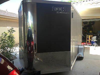 2014 Look Vision 7x12 Enclosed Cargo Trailer, Charcoal Grey, Wedge Nose