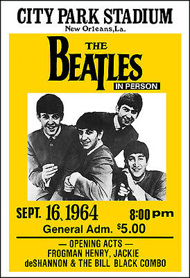 THE BEATLES 1964 New Orleans Concert Poster
