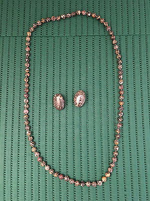 Vintage Distinctive Marbled Stone Necklace and Clip Earrings. Estate Jewelry.