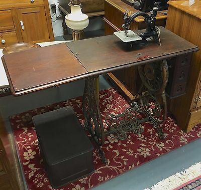 Antique Old 1894 Willcox & Gibbs Treadle Sewing Machine Co. with Cast Iron Base