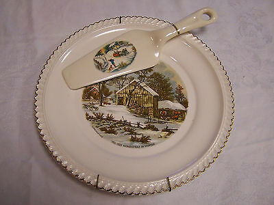 Harkerware Currier & Ives Homestead In Winter Dinner Plate With Pie Server C&i