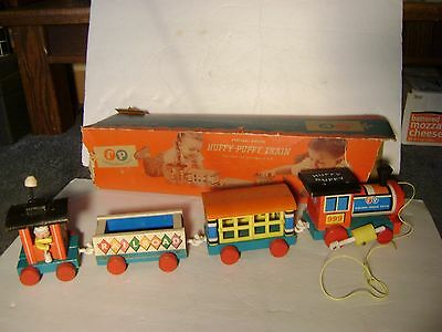 Vintage 1962 Fisher Price Huffy Puffy Wooden Train Pull Toy with Original Box
