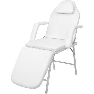 Portable Foldable Massage Cosmetic Beauty Chair Bed White Artificial Leather