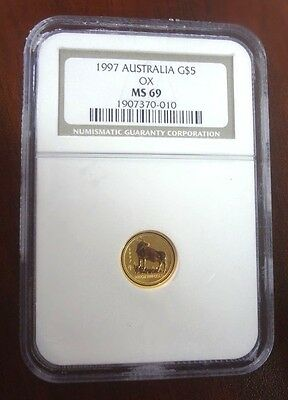 1997 Australia Gold Lunar Year of the Ox $ 5 Gold Coin NGC MS 69
