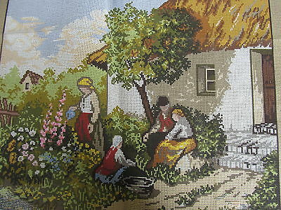 Cottage Garden Scene~Country House~Family Gardening~Needlepoint Canvas~Tapex