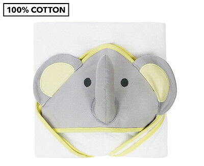 Little Haven Elephant Hooded Baby Towel - White/Grey/Yellow