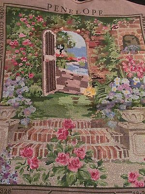 Penelope~Walled View~Cottage Garden~Needlepoint Canvas~