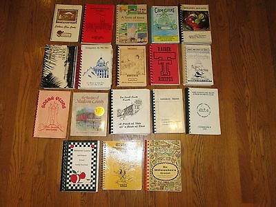 Huge Lot of 18 Church, Community and Other Spiral Cookbooks, Some Vintage