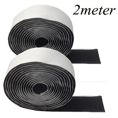 2M BLACK Self Adhesive Sticky Backed Hook and Loop Tape Strip Sew On Stich UK