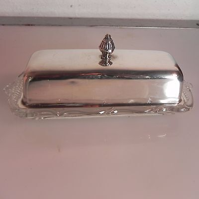 Vintage FISHER Sterling Silver Butter Dish with Heisey Glass Base
