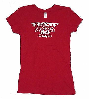 Ratt Ratt N Roll Silver Foil Red Babydoll Girls T-Shirt Xl New Official