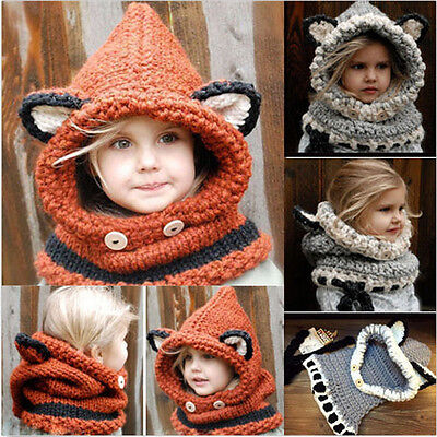 Winter Beanie Baby Kid Animal Warm Fox Cat Hat Hooded Scarf Earflap Knitted Wool