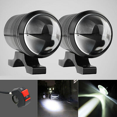 2x CREE U1 LED Fisheye Motorcycle Light Headlight Driving Fog Spot Lamp + Switch