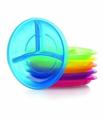 Nuby 2 Pack Embossed Section Plate, Colors May Vary