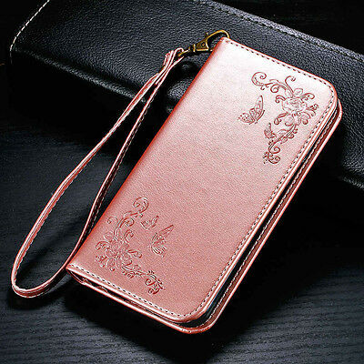 Flower Butterfly Leather Case Cover Skin Card Wallet Slot for iPhone Samsung LG
