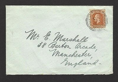 Cayman Islands KGV 1921 1 1/2d on 1926 cover to England