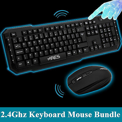 T1 Slim Gaming Game USB Wireless Keyboard and Mouse Mice for PC Laptop Black