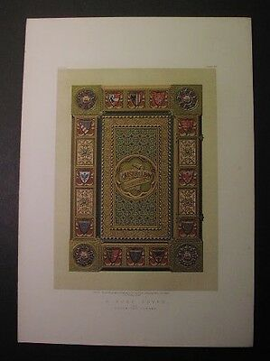 1863 color lithograph: ORNAMENTAL BOOK COVER - Kaiser Album by Habenicht, Vienna