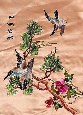 """Vintage Chinese Silk Embroidery Art 12.5""""x9"""" Tree, Bird, Flowers on Pink"""