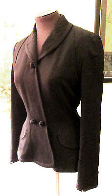 Vintage 1950s Black Hourglass Femme Fitted Jacket S