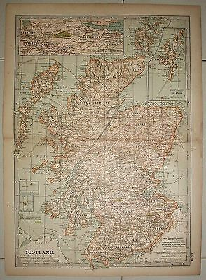 Detailed Map of Scotland ex-Britannica Encyclopedia 1903 few worm holes