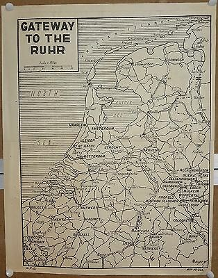 """India WW2 war map poster Gateway To The Ruhr Germany 13.5""""x17"""""""