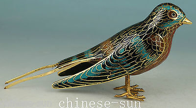 Lovely Chinese Old Cloisonne Carving swallow bird Collect Statue Figure Art