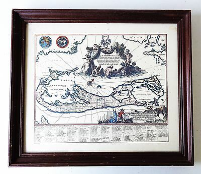Vintage Framed Good Quality Colour Map Print Of Bermuda