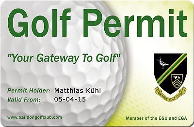 Golf Permit Card/Course Licence. Your First Step To An Official Golf Handicap
