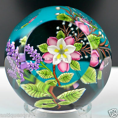 SIGNED CAITHNESS WILD ROSE BOUQUET Glass Paperweight by WILLIAM MANSON LIMITED